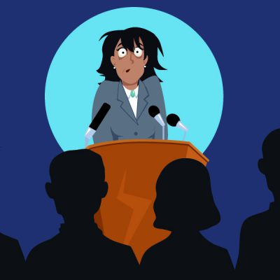"""""""Banish the Fear of Public Speaking"""" is an e-learning programto help clients overcome their fear of public speaking, delivered in TEN, SIX MINUTE MODULES."""